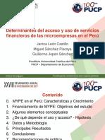 Informe Determinantes del acceso y uso de servicios financieros