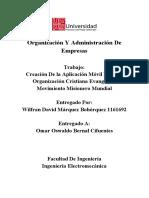 Creación De la Aplicación Móvil Para La Organización Cristiana Evangélica, MMM