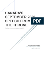 2020.09 Canada Speech From the Throne