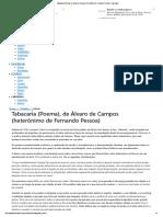 Tabacaria (Poema), de Álvaro de Campos (heterônimo de Fernando Pessoa) - Passeiweb