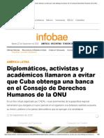 Diplomáticos, activistas y académicos llamaron a evitar que Cuba obtenga una banca en el Consejo de Derechos Humanos de la ONU - Infobae