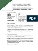 Silabo PI 524 - Metodos Numericos para Ingenieria Quimica I 2020