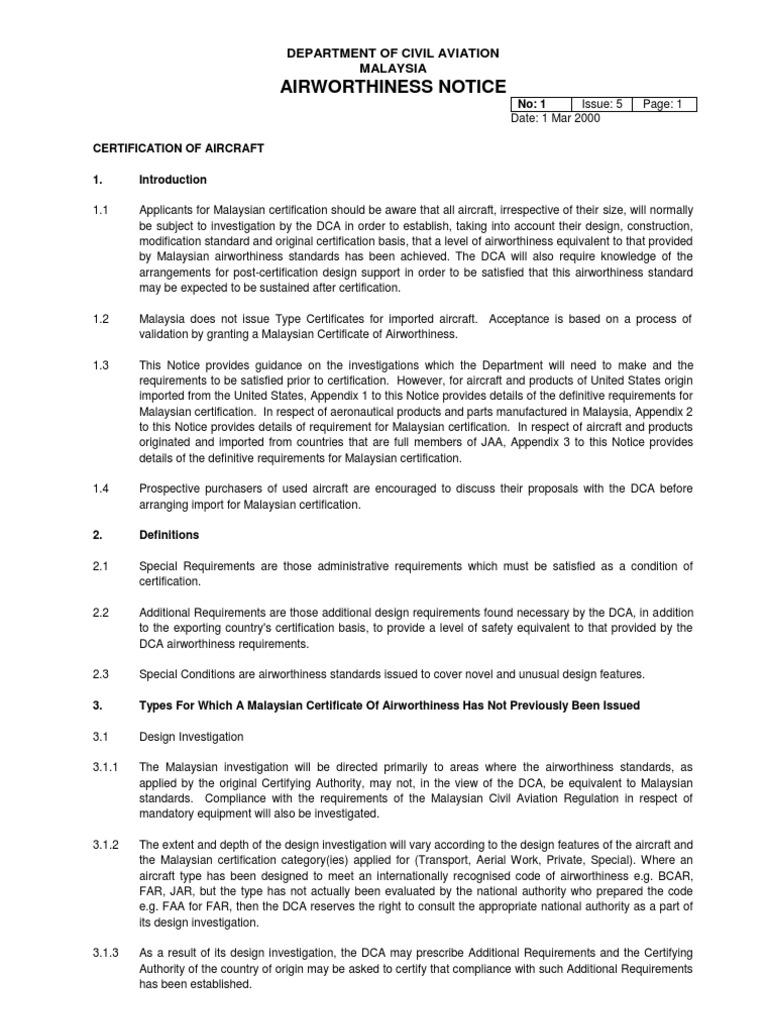 An1 certification of aircraft aviation aeronautics 1betcityfo Image collections