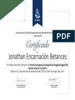 CERTIFICADO JONATHAN ENCARNACIÓN BETANCES