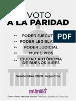 Mumala - Informe- Del Voto a La Paridad - Argentina 2020 - Observatorio Mumala