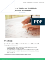 LECTURE NOTES 7B - Importance of Validity and Reliability in Classroom Assessments