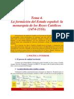Tema 4. La formación del Estado español. La monarquía de los Reyes Católicos (1474-1516).
