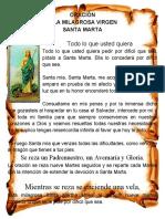 Oración a la Milagrosa Virgen de Santa Marta