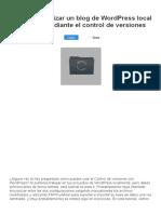 Cómo sincronizar un blog de WordPress local y remoto mediante el control de versiones