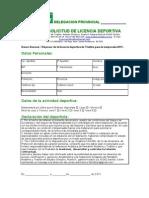 Ficha de Solicitud de Licencia Deportiva
