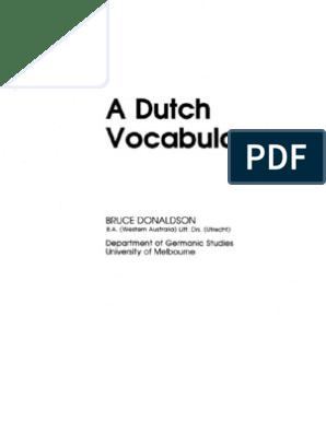 A Dutch Vocabulary Bruce Donaldson
