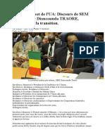 Discours du Président du Mali par Intérim à Adis Abeba en Ethiopie