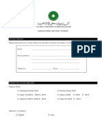 Order Form for Past Papers