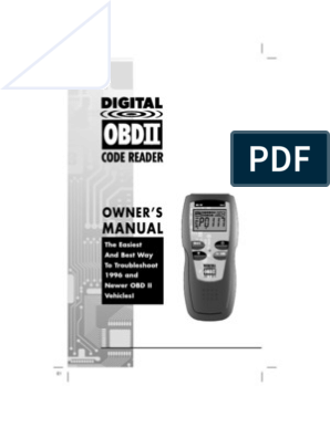 OBDII code reader owners manual | Vehicle Technology