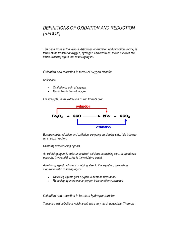 Definitions Of Oxidation And Reduction Redox Atoms