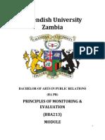 BBA213 Principles of Monitoring & Evaluation Module