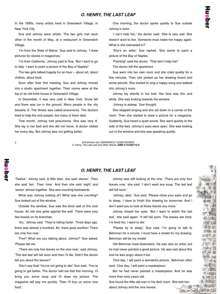 the last leaf short story summary