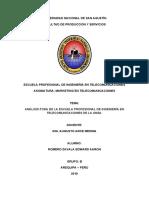 Análisis FODA de la escuela profesional de ingeniería en telecomunicaciones de la Unsa