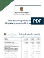 Executarea bugetului municipal Chișinău pe semestrul I al anului 2020