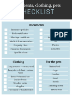 Document, Pets and Clothing Checklist