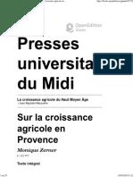 ZERMER Monique - Sur la croissance agricole en Provence - 1990