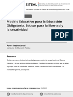 Modelo Educativo para la Educación Obligatoria. Educar para la libertad y la creatividad