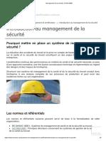 Management de la sécurité, OHSAS18001