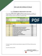CERTIFICADO DE  OPERATIVIDAD TABLEROS