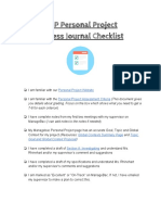 Process Journal Checklist for MYP Personal Project