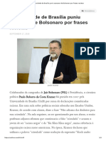 Universidade de Brasília puniu assessor de Bolsonaro por frases racistas