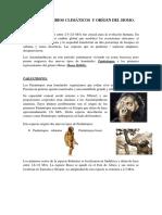 Tema IV. Cambios climáticos y orígen del Homo.