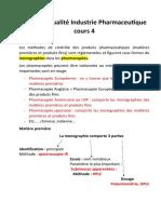 Contrôle qualité Industrie Pharmaceutique  cours 4