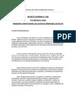 D.S. 1600 - 2013 Premio Plurinacional de Educación