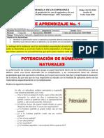 GUIA 1 Aritmetica Sexto - Potenciación, radicación y logaritmación (08 Junio - 30 Junio) (1)