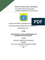 LA RELACIÓN ENTRE LAS IGLESIAS EVANGÉLICAS Y LA SALUD DE LOS POBLADORES, SAN ANTONIO BAJO-BAMBAMA.pdf