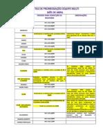 DATAS DA PRG EQUIPE MULTI - ABRIL