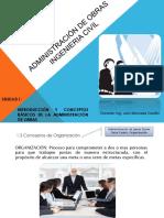 CLASE 3. Unidad I. INTRODUCCIÓN Y CONCEPTOS BÁSICOS DE LA ADMINISTRACIÓN DE OBRAS