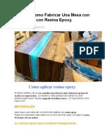 Aprende como Fabricar Una Mesa con Efecto Rio con Resina Epoxy