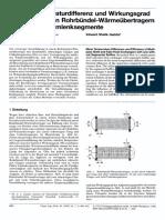 Mittlere Temperaturdifferenz und Wirkungsgrad in mehrgangigen Rohrbundel-Warmeubertragern mit und ohne Umlenksegmente