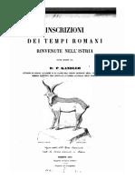 P. Kandler - Inscrizioni dei tempi romani rinvenute nell'Istria