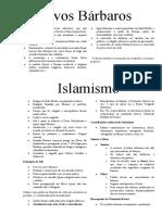 Povos Barbaros, Islamismo, Imp Bizantino