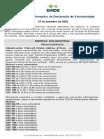 IDE 007/20 Informativo de Declaração de Exclusividade DGS 25.09.2020