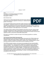 International Sleep Products Association Letter to Chairman Issa - January 11, 2011