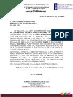 OF. AVISO DE TERMINACIÓN DE OBRA