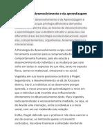 trabalho de Psicologia - tema psicologia de desenvolvimento e aprendizagem
