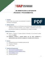 Procesos y Procedimiento de Orientación al Estudiante. Final 2020