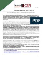2020-09-11 - Synthèse des connaissances - CSFI-ITEMM-Forces Musicales - Veille - Pratique instrumentale et vocale et Covid - 11 09 2020