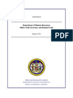 Audit Report, Department of Human Resources, Maryland, January 2011