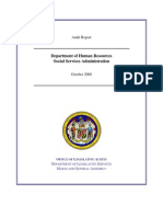 Audit Report, DHR, Social Services Administration, Maryland, October 2008.