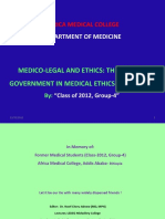 Medico-Legal and Medical Ethics, Role of Gov't in Ethiopia